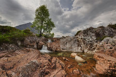 Coupall waterfall on the river in Glen Etive Royalty Free Stock Photos