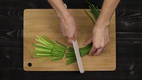 Coupant en tranches les pousses vertes de l'ail en tant qu'élément du processus de faire un additif aromatique au plat selon une  banque de vidéos