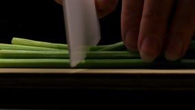 Coupant en tranches les pousses vertes de l'ail en tant qu'?l?ment du processus de faire un additif aromatique au plat selon une  banque de vidéos