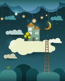 Coupe abstraite de papier, maison douce à la maison d'imagination, lune avec l'étoile-nuage et ciel la nuit Nuage vide pour votre Photos stock