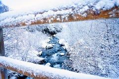 Coupe bleue de rivière par le paysage gelé de l'Islande Photos libres de droits