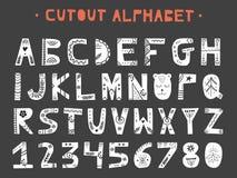 Coupe-circuit ABC - alphabet latin Lettres faites main uniques dans le style scandinave Photos stock