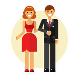 Coupe on dating. Flat design vector illustration of funny smiling couple in love. Happy young woman in pretty dress keeping man's hand in suit. Dating and Royalty Free Stock Photos
