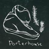 Coupe de bifteck de Porterhouse et contour de fond de Rosemary Vector Isolated On Chalkboard Image libre de droits