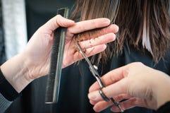 Coupe de cheveux au coiffeur Image stock