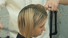 Coupe de cheveux du ` s de femmes coiffeur, salon de beauté image stock