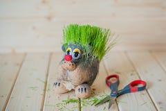 Coupe de cheveux, hérisson avec des aiguilles d'herbe Photo stock