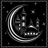 Coupe de laser vecteur de mosquée, icône de mosquée ramadan Art d'icône - stoc illustration libre de droits
