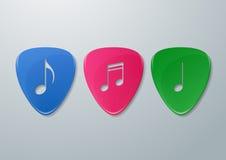 Coupe de notes de musique dans des sélections de guitare Photos libres de droits