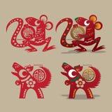 Coupe de papier chinoise de rat et de chien Photos libres de droits