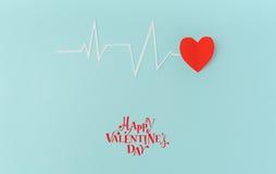 Coupe de papier de cardiogramme de rythme de coeur pour le jour de valentines Image libre de droits