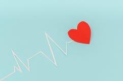 Coupe de papier de cardiogramme de rythme de coeur pour le jour de valentines Photos stock