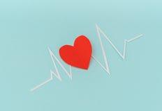 Coupe de papier de cardiogramme de rythme de coeur pour le jour de valentines Photos libres de droits