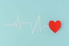 Coupe de papier de cardiogramme de rythme de coeur pour le jour de valentines Image stock