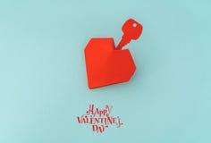 Coupe de papier de clé pour le coeur comme symbole de l'amour Photo stock