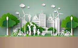 Coupe de papier de concept d'eco illustration stock