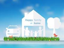 Coupe de papier de vecteur de famille heureuse avec la maison Image stock