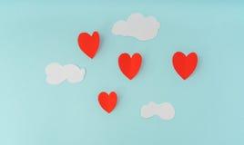 Coupe de papier des ballons à air chauds de coeur pour le celebrat de Saint-Valentin Photos libres de droits