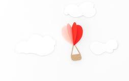 Coupe de papier des ballons à air chauds de coeur pour le celebrat de Saint-Valentin Photo libre de droits