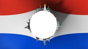 Coupe de trou dans le drapeau du Paraguay illustration stock