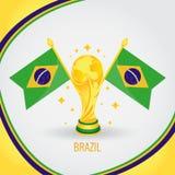 Coupe du monde de champion du football du Brésil 2018 - drapeau et trophée d'or Photos libres de droits