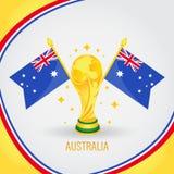 Coupe du monde de champion du football d'Australie 2018 - drapeau et trophée d'or Photos libres de droits
