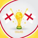 Coupe du monde de champion du football de l'Angleterre 2018 - drapeau et trophée d'or Images stock