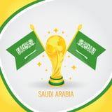 Coupe du monde de champion du football de l'Arabie Saoudite 2018 - drapeau et trophée d'or Photos libres de droits
