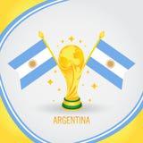 Coupe du monde de champion du football de l'Argentine 2018 - drapeau et trophée d'or Photographie stock libre de droits