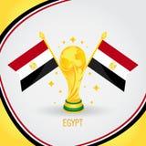Coupe du monde de champion du football de l'Egypte 2018 - drapeau et trophée d'or illustration stock