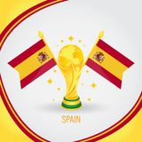 Coupe du monde de champion du football de l'Espagne 2018 - drapeau et trophée d'or Photographie stock