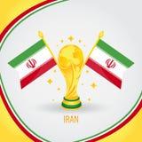 Coupe du monde de champion du football de l'Iran 2018 - drapeau et trophée d'or Photo stock