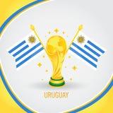 Coupe du monde de champion du football de l'Uruguay 2018 - drapeau et trophée d'or Image stock