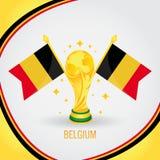 Coupe du monde de champion du football de la Belgique 2018 - drapeau et trophée d'or illustration stock