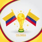 Coupe du monde de champion du football de la Colombie 2018 - drapeau et trophée d'or Photos libres de droits