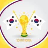 Coupe du monde de champion du football de la Corée du Sud 2018 - drapeau et trophée d'or Image libre de droits