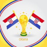 Coupe du monde de champion du football de la Croatie 2018 - drapeau et trophée d'or Image libre de droits