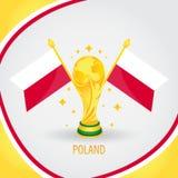 Coupe du monde de champion du football de la Pologne 2018 - drapeau et trophée d'or Photographie stock