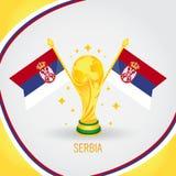 Coupe du monde de champion du football de la Serbie 2018 - drapeau et trophée d'or Photo stock