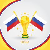 Coupe du monde de champion du football de la Serbie 2018 - drapeau et trophée d'or illustration stock
