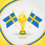 Coupe du monde de champion du football de la Suède 2018 - drapeau et trophée d'or Photographie stock libre de droits