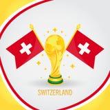 Coupe du monde de champion du football de la Suisse 2018 - drapeau et trophée d'or Images stock