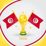 Coupe du monde de champion du football de la Tunisie 2018 - drapeau et trophée d'or Photos libres de droits