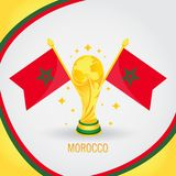 Coupe du monde de champion du football du Maroc 2018 - drapeau et trophée d'or Photo stock