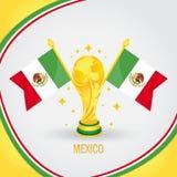 Coupe du monde de champion du football du Mexique 2018 - drapeau et trophée d'or illustration stock