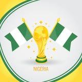 Coupe du monde de champion du football du Nigéria 2018 - drapeau et trophée d'or Images stock