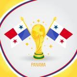 Coupe du monde de champion du football du Panama 2018 - drapeau et trophée d'or illustration stock