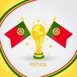 Coupe du monde de champion du football du Portugal 2018 - drapeau et trophée d'or illustration de vecteur