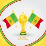 Coupe du monde de champion du football du Sénégal 2018 - drapeau et trophée d'or illustration stock