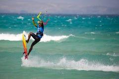 33 Coupe du monde de Fuerteventura 2018 Style libre sans bretelles de GKA Kitesurf 2018 07 21 Playa Sotavento Photographie stock libre de droits